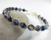 Sodalite Bracelet, Red Brass or Copper Wire Wrapped Bangle Bracelet, Blue Gemstone Bracelet Healing Bracelet Healing Crystal Jewelry (#2127)