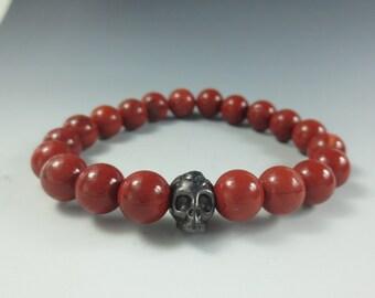 Men's Stretch Bracelet, Red Jasper, Skull Bead, Men's Gemstone Bracelet, Mans Healing Bracelet, Mans Bracelet , Men's Healing Jewelry(#2119)