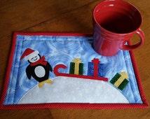 Instant Download PDF Pattern Penguin Christmas Mug Rug