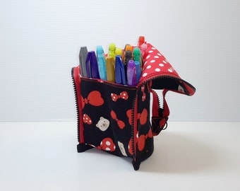 Red ribbon bears  Stand up zippered marker pen pencil pouch bag case