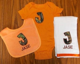 Camo Baby Gift Set Camoflauge Bib Camoflague Burp Cloth, Camo Bib, Camo Decor Camo Nursery Camo Baby Shower Camo Birthday Gift Hunting Buddy