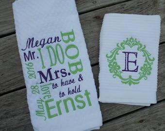 Personalized Kitchen Towel Set Wedding Gift Set Bridal Shower Gift Monogram Kitchen Towel Personalized Towel Monogram Towel Gift for Grandma