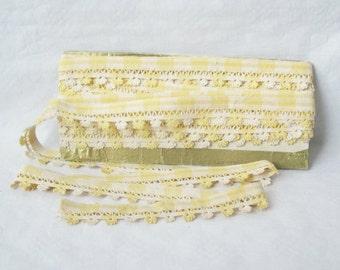 "Antique french braid, Vintage, White & yellow cotton, 1950, Mid century, Retro home decor, Galon ancien, 236"""