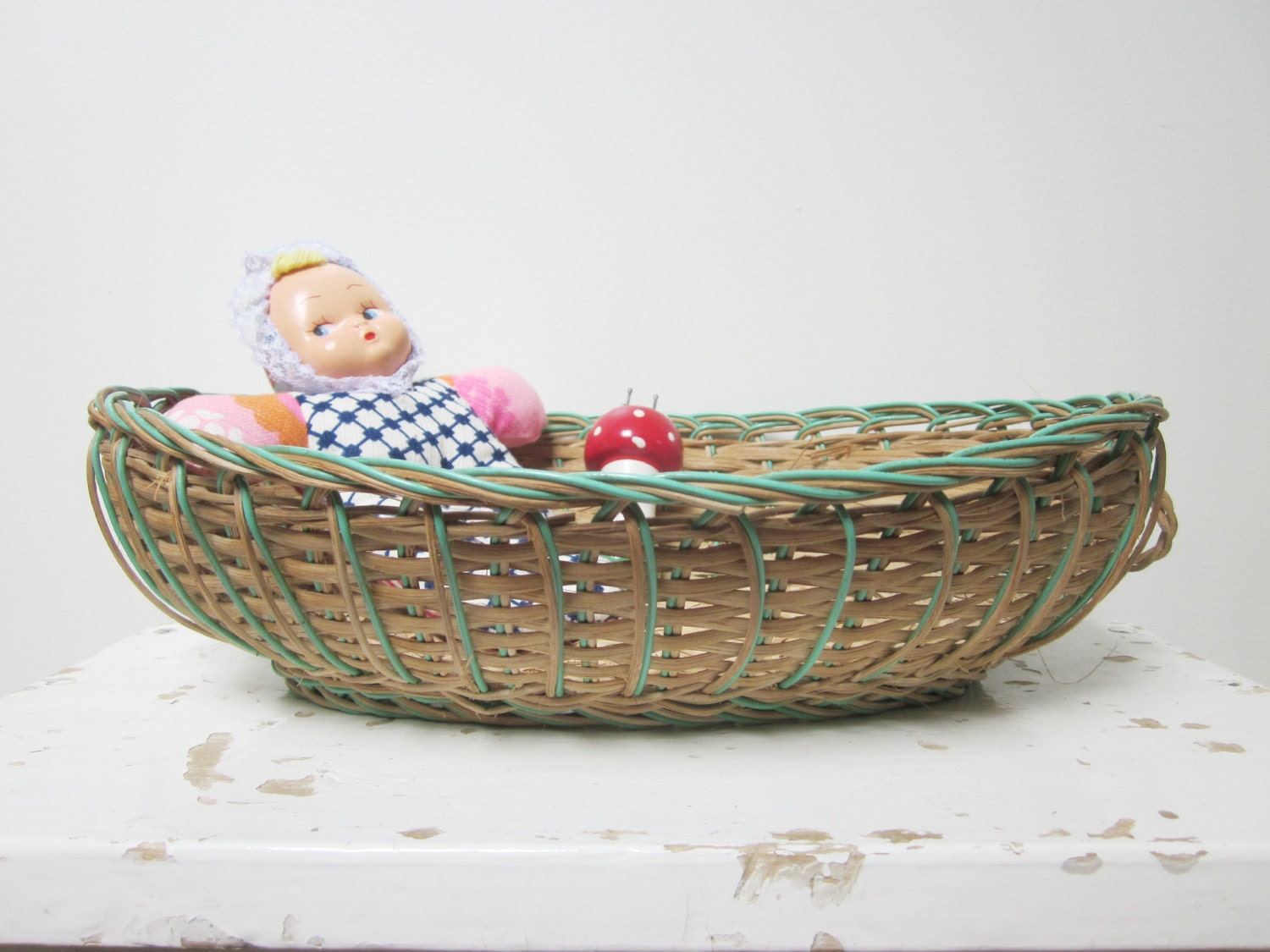 Panier En Osier Wicker : Vintage french wicker basket panier en osier ancien antique