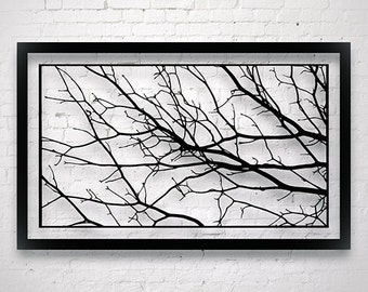 Large Tree Branch Decor, Original Paper Cut Out, Luxury Wall Decor Living Room, Monochrome Art Abstract, Bedroom Wall Hangings, Minimalist