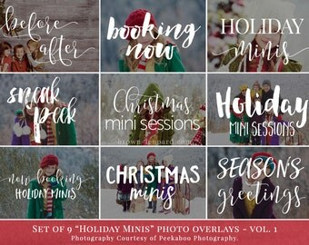 Holiday Minis vol.1 - holiday photo overlays, christmas photo overlays, photography overlays for Photoshop, gold, glitter, white
