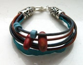 Natural Red Brown Sea Blue Leather Strap Antique Jeans Blue Greek Ceramic Beads Wooden Beads Bracelet - Inspired by The Shannara Chronicles