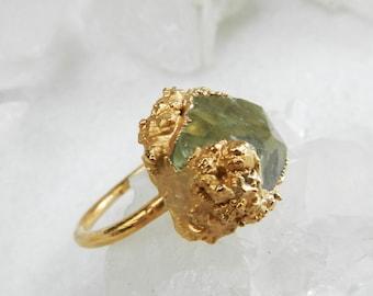 ON SALE, apatite ring, raw apatite, yellow apatite, druzy ring, rose gold ring, statement ring, raw gemstone jewelry, rose gold
