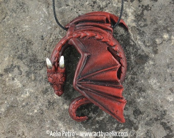 Resting Dragon Necklace - Fire Elemental Dragon - IN STOCK and Ready to Ship