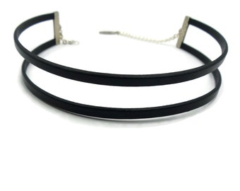 Double Leather Strands Choker in Black Thin 5mm Layers,  High Quality Cord Fashion Piece,  Sexy, Trendy, Girlfriend  Gift - Custom Size