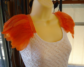 Orange Feather Epaulettes, Shoulder Feathers, Feather Shoulder Accessories, Feathered Shoulder Wings, Orange Wings