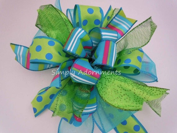 Funky Gift Bow Whimsical Blue Lime Gift Bow Blue Green Birthday Party Decor Turquoise Lime Bridal Shower Decor Funky Whimsical Wreath Bow