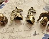 4pcs antique bronze  plating  Roman gladiators   pendant finding