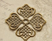 8 pcs raw Brass plating antique bronze  flower Filigree cab base Connector Finding