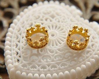 6pcs raw brass plating gold crown pendant finding