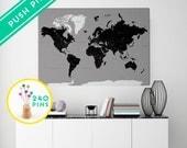 Push Pin Travel Map world CANVAS Black gray - Countries, Capitals, USA and CANADA states  - World Map Canvas 240 Pins