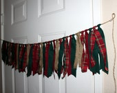 Rustic Christmas Red and Green Plaid, Burlap Fabric Garland Rag Tie Banner Party Decoration, Photo Prop Backdrop