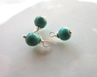 6mm Green Turquoise Dangles, stabilized round gemstones with sterling silver wire wrap 3 dangles December birthstone