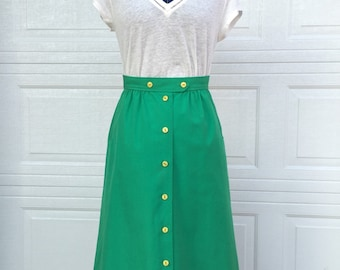 Vintage kelly green a line button front skirt Koret with yellow buttons high waisted