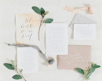 Custom Organic Calligraphy Invitation Printed on Cotton Hand Torn Paper Simple Invitation Handwritten Invitation with Calligraphy
