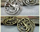 10PCS Three headed dragon charm pendant wholesale jewelry findings 33x36mm antique silver (W7957)/ antique bronze (W7960)