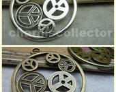 10PCS Circle peace symbol charm pendant 42mm wholesale jewelry findings antique bronze (W6825)/ antique silver (W7004)