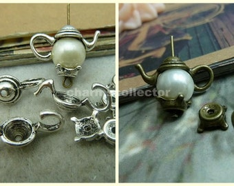 10 sets teapot beads antique silver/ antique bronze 8x21mm top- 2x7mm bottom wholesale jewelry findings