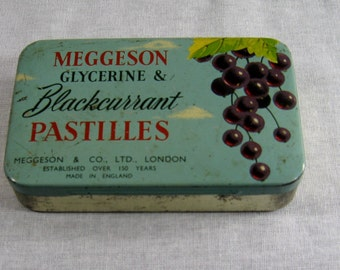 Meggeson Glycerine & Blackcurrent Pastilles English Tin - Old Pastille Tin - English Blackcurrent Pastilles Tin