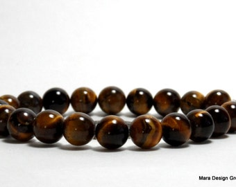 tiger's eye round beads - 10 mm - 1/2 strand (20) beads