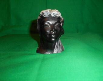 One (1), Vintage, Frank Schirman, Kapiolani, Black Coral, Figurine.