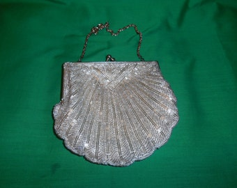 One (1) Vintage White Bugle and Seed Bead, Evening Purse with Chain Strap, From Walborg of Macao.