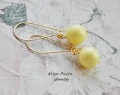 Earrings yellow, earrings swarovski, earrings handmade,earrings gold plated, loop earrings