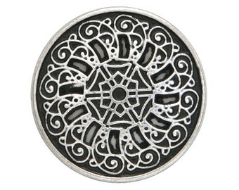 3 Byzantine 13/16 inch ( 20 mm ) Metal Buttons Antique Silver Color