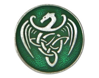 2 Celtic Dragon 15/16 inch ( 24 mm ) Pewter Buttons Green Background