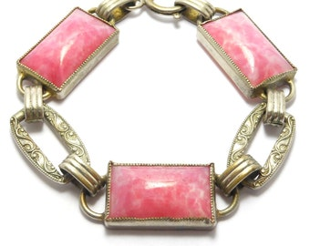 Pink Czech Bracelet 1930's Art Deco Nouveau Peking Glass Panel