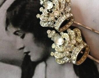 SALEWindyDays Decorative Hair Pins Jewelry 20's Royal Crown Paste Rhinestone Bobby Pins