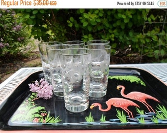 ON SALE Vintage Drinking Glasses, Set Of Six, Clear Cut Glass With Flowers, Shabby Chic, Cottage Chic, Mid Century, Barware, Kitchen, Good Q