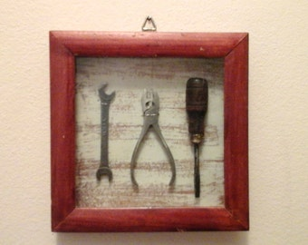 Vintage Miniature Real Tool collector's case -- shadow box display wall hanging -- rustic home decor