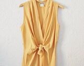 Vintage Womens Mustard Yellow Silk Wrap Pleated Tank Top