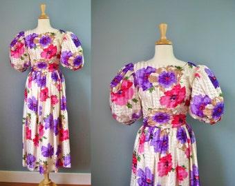 William Pearson Formal Dress / Vtg 80s / Power 80s Floral Puffy Sleeved William Pearson Formal Dress / Size 8