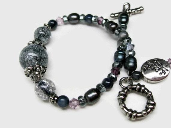 Freshwater pearl bracelet Black pearl bracelet Black pearl jewelry womens pearl bracelet gift for her Birthday fashion jewelry accessories