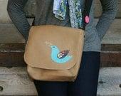 Messenger Bag Woman Purse Satchel Bird Song 6 Beige Aqua Pink Brown Green