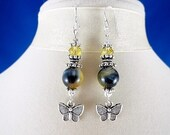 Custom Made For Charmaigne, Blue And Golden Cat Earrings, Butterfly Charm, Bali Sterling Silver Components, OOAK
