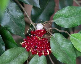 Christmas Beaded Angel Ornament (Burgundy)