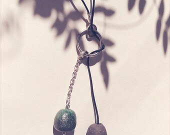 Blue necklace, ceramic pearl