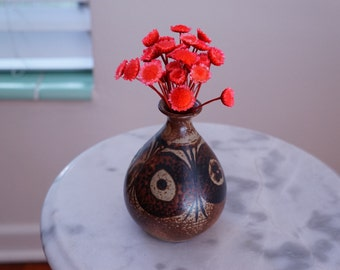 Graceful Bud Vase with Hand-painted Designs by OMC -- Lovely Ceramic Vase Made in Japan -- Earthy Vintage Pottery