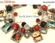 ON SALE Vampire Charm Bracelet Jewelry, 'Love Never Dies', Gothic Charm Bracelet Jewelry, Halloween Charm Bracelet, Altered Art Charm Bracel