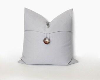Button pillow cover, Storm grey. Coconut Button. decorative sofa throw pillow, home decor accent