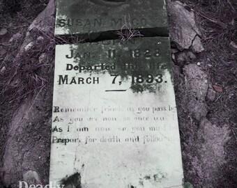 cemetery headstone grave creepy epitaph  8x10 photo
