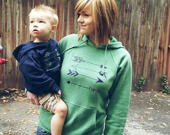 Sea Green and Navy Stacked Arrows Hoodie Set